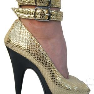 GASOLINE GLAMOUR Shoes - GASOLINE GLAMOUR GOLD RUSH PEEPTOE PUMPS